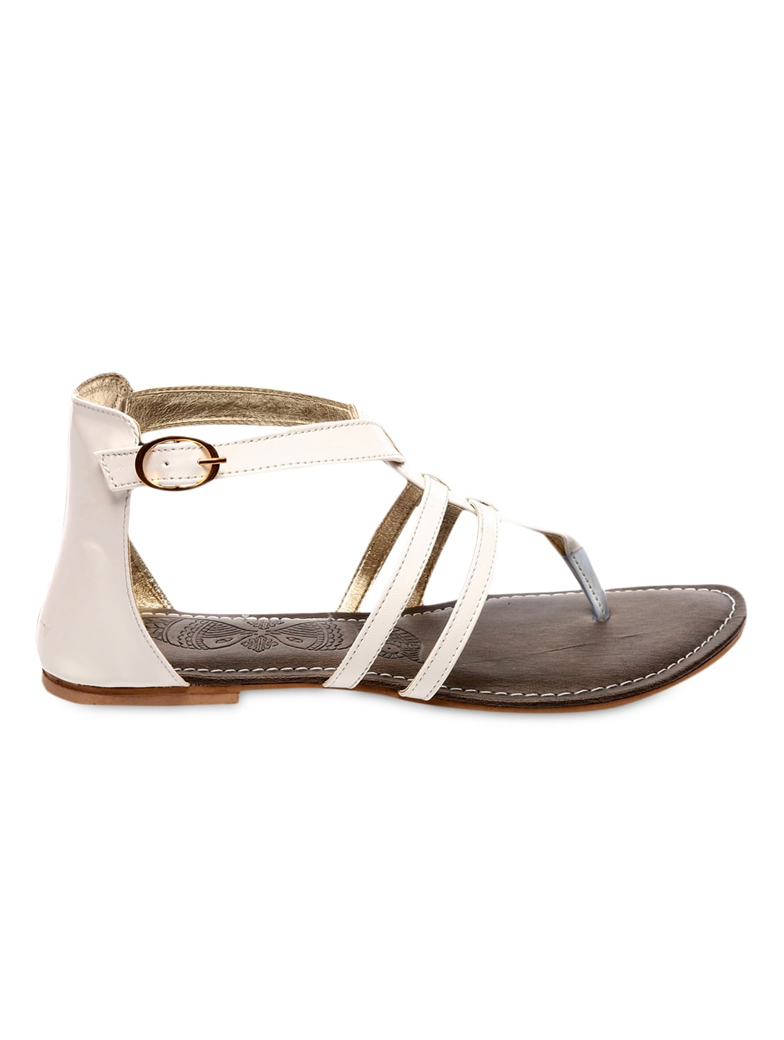 White faux leather sandals available at Limeroad for Rs.499