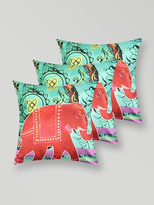 Elephant print polyester cushion cover
