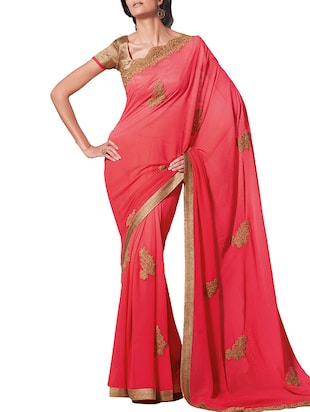 coral georgette embroidered saree