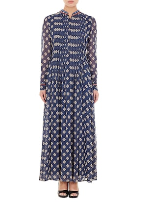 blue printed viscose long kurta