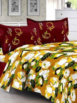 Yellow & Floral Design 100% Cotton Double Bedsheet with 2  Pillow covers