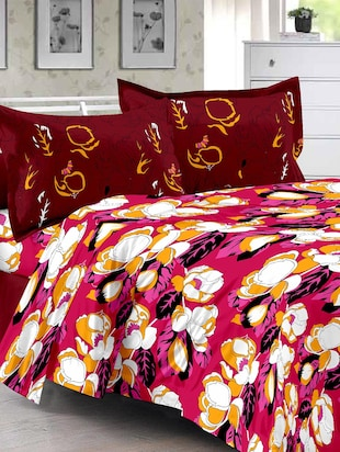 Maroon & Floral Design Herbal Cotton Double Bedsheet with 2  Pillow covers