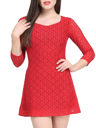 red polyester dress
