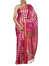 Fuschia & Beige Cotton Silk Saree with Blouse -  online shopping for Sarees