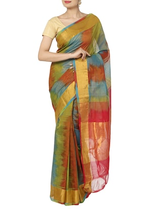 multi colored Cotton blend Saree with Blouse -  online shopping for Sarees