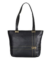 Solid Black Leatherette Handbag - Coash