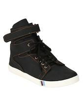 black leatherette lace up sneaker -  online shopping for Sneakers