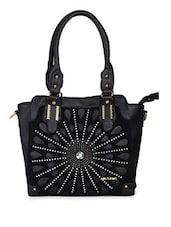 Black Leatherette Handbag - By