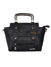 Black Leatherette Shoulder Bag - By