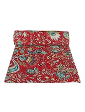 Red Printed Cotton Quilt - Rajcrafts