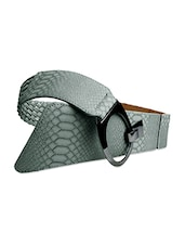 Snakeskin Textured Grey Wide Belt - Just Women