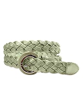 Green Braided Leatherette Belt - Just Women