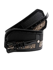 Black Snakeskin Textured Broad Waist Belt - Just Women