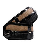Beige & Black Textured Broad Waist Belt - Just Women