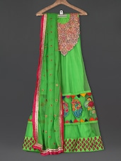 Embroidered Green Net Anarkali Suit Set - Sarees Bazaar