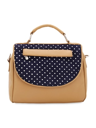 Polka dot printed flap sling bag