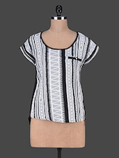 Black And White Polyester Cotton Knit Tunic - SS