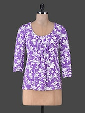 Blue Floral Printed Cotton Knit Tunic - SS
