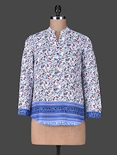 White Polyester Button Tunic With Printed Blue Border - SS