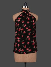 Black Floral Print Halter Neck Top - VICTORIAN CLOTHING
