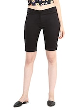 Brown Polycotton Knee Length Shorts - By