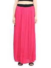 Pink Pleated Long Skirt - By