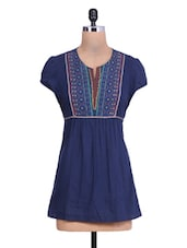 Blue Cotton Embroidered Long Sleeves Kurti - By