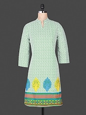 Mandarin Color Quarter Sleeve  Printed Cotton Green Kurta - ANJANI KURTIS