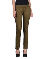 Green Cotton Twill Trousers - By