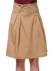 Brown Cotton Satin And Lycra  Relaxed Fit Skirt - By