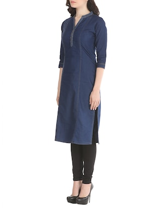 dark blue denim regular kurta