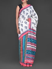 Paisley & Stripes Printed Bhagalpuri Silk Saree - By