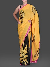 Floral Printed Yellow Georgette Saree - By