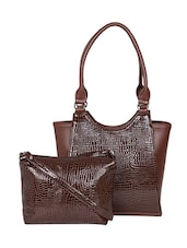 brown leatherette textured handbag and pouch combo -  online shopping for handbags