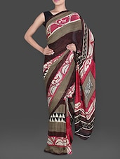 Printed Brown And Red Georgette Saree - Saree Street