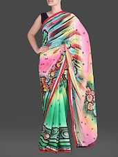 Printed Pink And Green Georgette Saree - Saree Street