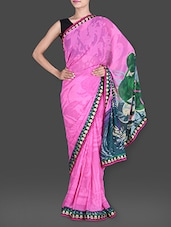 Abstract Printed Pink Georgette Saree - Saree Street
