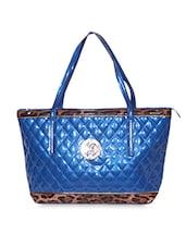Blue Textured Faux Leather Handbag - A-Progeny