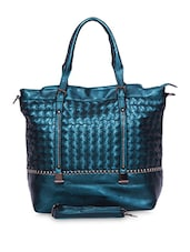 Sea Green Faux Leather Tote Cum Sling - A-Progeny