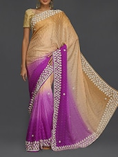 Embellished Purple Ombre Saree - SareesHut