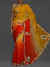 Embellished Yellow & Orange Ombre Saree - SareesHut