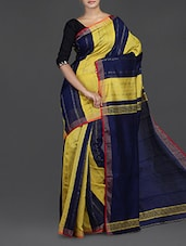 Navy Blue And Yellow Handwoven Bengal Cotton Silk Saree - Cotton Koleksi
