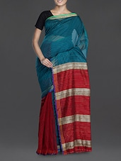 Bluish Green Handwoven Noel Saree With Gheecha Aanchal - Cotton Koleksi