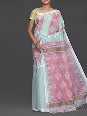 White And Pink Handwoven Resham Saree - Cotton Koleksi