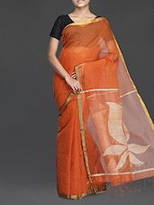 Rust Handwoven Resham Saree With Gheecha Work - Cotton Koleksi