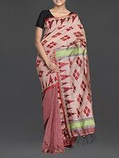 Beige And Red Handwoven Resham Saree - Cotton Koleksi