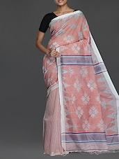 White And Peach Handwoven Resham Saree - Cotton Koleksi