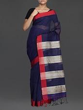 Navy Blue Striped Handwoven Noel Saree - Cotton Koleksi