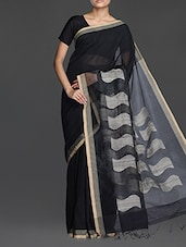 Black Handwoven Saree With Gheecha Pallu - Cotton Koleksi