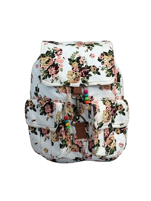 white color, canvas printed backpack -  online shopping for backpacks